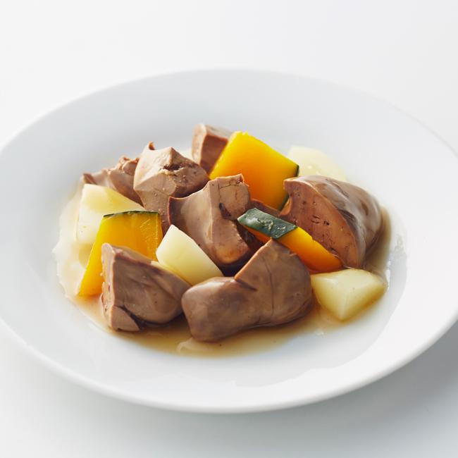 鶏肝と根菜スープ
